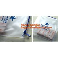 Transparent pvc slider zip bag with blue side gusset, pvc zipper lock slider bag, Zipper slider clear pvc bag for ruler Manufactures