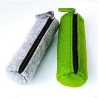 China Cylindric Felt Zipper Soft Pencil Pouch Eco-Friendly Waterproof Single Layer on sale