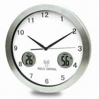 Quality Radio-controlled Wall Clock with Aluminum/Glass Material and Digital Hygrometer for sale