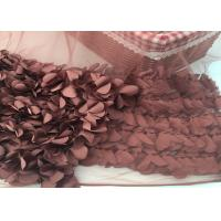 100% Polyester Soft Lace Fabric 3d Flower / Tulle Lace Fabric For Wedding Dress Manufactures