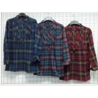 Quality Women's tops apparel stock lots for Japan market-130K pcs  Plaid Full sleeve casual shirts for sale