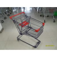 75L retail Wire Shopping Trolley Retail Shopping Carts with 4x3inch swivel flat PVC caster Manufactures