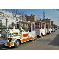 Outdoor Electric Trains Sightseeing Tourist Road Train 4m×1.65m×2.5m Train Head Size Manufactures