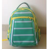 OEM ODM Green White Polyester Striped High School Backpacks with Laptop Pocket Manufactures