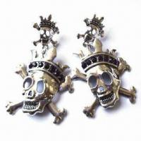 Fashionable Skull Drop Earrings with Crown Design and Stones, Comes in Various Designs and Colors Manufactures
