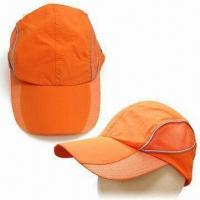 Nylon Baseball Cap with Reflective Strip and Metal Closure on Back Manufactures
