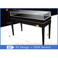 Buy cheap Fashion Custom Glass Display Cases / Glossy Black Wooden Exhibition Display Plinths from wholesalers