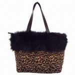 Fleece Handbag with Fake Fur Decoration and PU Handle Manufactures