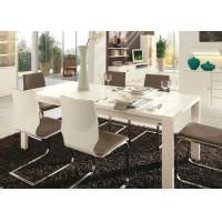 White Gloss 6 Seater Dining Table , Modern Dining Room Tables Strong Structure Manufactures