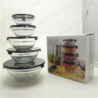 Wholesale easy to wash portable high borosilicate glass 5 Pieces salad bowl set Manufactures