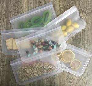 China FDA PEVA Reusable Snack Storage Bag Airtight Seal Fresh-keeping Sandwich Food Bag on sale