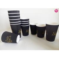 Espresso Ripple Paper Cups Full Black Printed Coated , Insulated