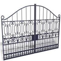 Sblack Primed Antique Wrought Iron Gates / Double Entry Residential Iron Gates Manufactures