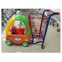 Unfolding Supermarket Metal Shopping Trolley , Kids Shopping Cart With Plastic Manufactures