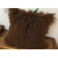 Customized Color / Size Mongolian Sheepskin Decorative Throw Pillow 10-15cm Wool Manufactures