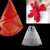 China OEM Red Satin Gloves Lace Veil wedding accessories for the bride on sale