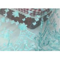 Nigerian Dress Green Lace Fabric With 3d Flower / Lace Dress Fabric For Wedding Manufactures