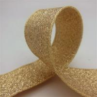 Durable Gold Glitter Ribbon , Grosgrain Fabric Gift Packaging Ribbon Manufactures