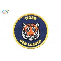 Yellow Merrow Iron On Embroidered Patches Blue Background Twill Fabric Tiger Iron On Patch Manufactures