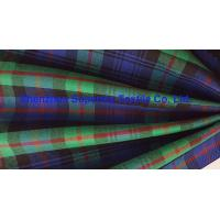 China Green Blue Plaid Yarn Dyed Elastic Stretch Fabric Polyester Twill / Drill for Men's Lady's uniforms on sale