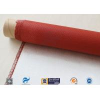 China Single Sided Red Silicone Coating Fiberglass Cloth 50 Meters High Strength 100g on sale