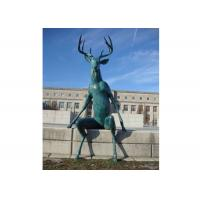 China Large Casting Green Patina Bronze Statue Bronze Deer Sculpture For Street Decor on sale
