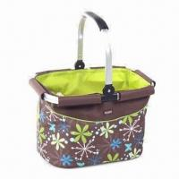 China Aluminum Framed Shopping Basket, Measures 33.5 x 21 x 24.5cm, Fabric of 600D Polyester on sale