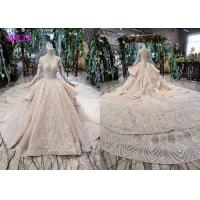 China Tulle Wedding Bridal Ball Gowns Long Sleeves V Neckline Lace Applications on sale