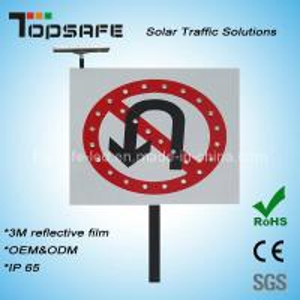 No U-Turns Aluminum Flashing LED Solar Traffic Signs/ Signage (TP-BP-DT64) Manufactures