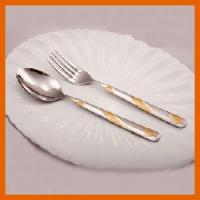 Gold Stainless Steel Fork and Spoon Set (LY1122-15) for sale