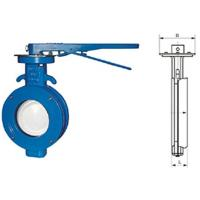 WBLX single eccentric manual wafer soft seat butterfly valve dimension 200mm Manufactures
