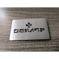 China Factory Wholesale 304 Stainless Steel Metal Silver Card With Cut Thru Logo Text on sale