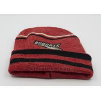 Custom Red Black Cotton Beanie Hats Knitting , Winter Caps For Men / Women Manufactures