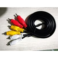 China Male To Male 3 RCA To 3 RCA Cable , Black Color 3 Rca Stereo Audio Cable on sale