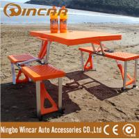 Plastic Foldable picnic camping table with 4 chairs have umbrella hole Manufactures