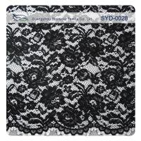 Edge Nylon Viscose Cord Lace Fabric , Black Floral Scalloped Lace Fabric Manufactures
