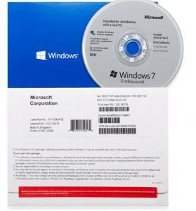 China Windows 7 Pro OEM pack 32bit 64bit with DVD computer software microsoft on sale