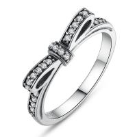 Sparkling Bow Knot Stackable Sterling Silver Jewelry Ring Micro Pave CZ for Women