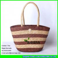 China LUDA hot saling straw tote bags new wheat straw striped bags on sale
