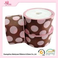 China 50 Mm Custom Grosgrain Ribbon Printing , Pink Dots & Red Dots Silk Grosgrain Ribbon wholesale