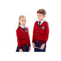 Gauge 12GG Cotton Knitted School Uniform Sweaters For Primary Students Manufactures
