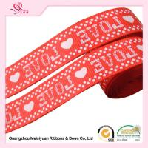 2cm Red Printed Heart valentine Grosgrain Ribbon silk Screen process