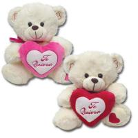 Off White Valentines Day Stuffed Toys Soft Plush Bear With Red Heart Manufactures