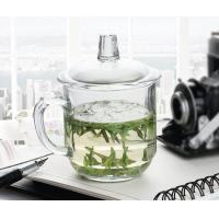 Office Retro Drinking Glasses With Glass Lid / Boss Cup Glass Coffee Mug Manufactures