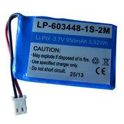 Lithium polymer battery pack, 3.7V/1000mAh/LP-603448-1S-2M Manufactures