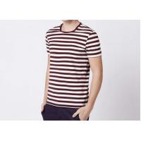 Three Colors 100% Cotton Striped T Shirt Mens Short Sleeve Comfortable Fabric Manufactures