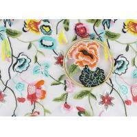 Beautiful Flower Embroidered Net Lace Fabric , 3d Flower Lace Fabric 100% Polyester Manufactures