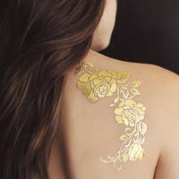 China Gold Rose Metallic Temporary Tattoo , Customized Beautiful Flower Tattoos on sale