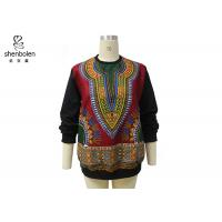 Pink Color Round Neck African Print Tops Long Sleeve For Spring / Autumn Manufactures