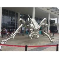 China Large Metal Garden Ornaments , Mirror Polished Stainless Steel Metal Spider Sculpture on sale